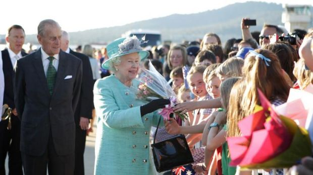 Her Majesty greets well-wishers with The Duke of Edinburgh.