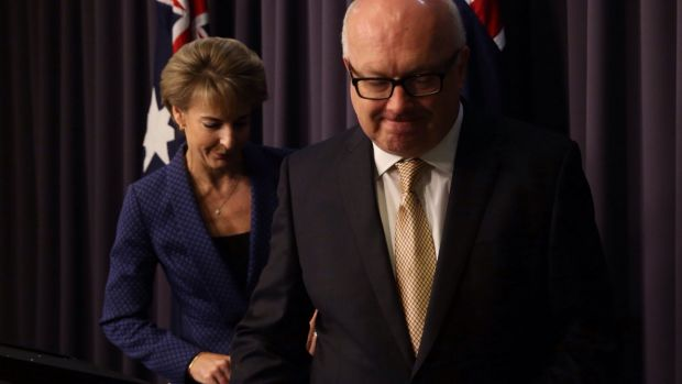 Attorney-General George Brandis and the Minister Assisting the Prime Minister for Women Michaelia Cash announcing the ...