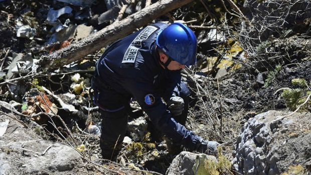 Body parts identified ... A French gendarme makes his way through debris from wreckage on the mountainside at the crash ...