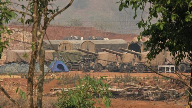 Chinese artillery of the People's Liberation Army facing the China-Myanmar border.