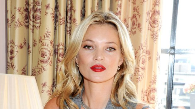 """Now ... the """"always thin"""" Kate Moss promotes Rimmel cosmetics last month."""