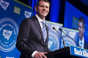 Mike Baird at the NSW Liberal Party election night event at the Sofitel Sydney Wentworth.