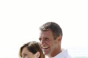 Mike Baird, with his wife Kerryn Baird, in Manly the morning after winning another term as NSW Premier..