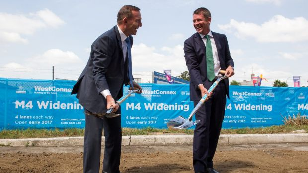 Prime Minister Tony Abbott and NSW Premier Mike Baird mark the beginning of construction on WestConnex.