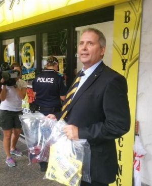 Detective Senior Sergeant Geoff Marsh from the Drug and Serious Crime Group after a synthetic drug raid.