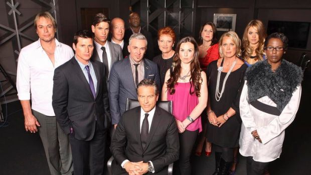 Contestants line up for Channel Nine's The Celebrity Apprentice. Points if you can name them all.