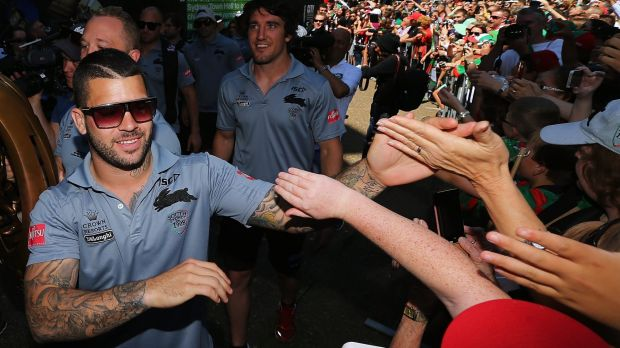 Just forget it: Adam Reynolds and the Rabbitohs celebrate with fans at Town Hall.