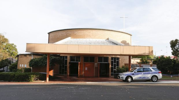 Police at St Mary's Catholic Church in Dandenong.