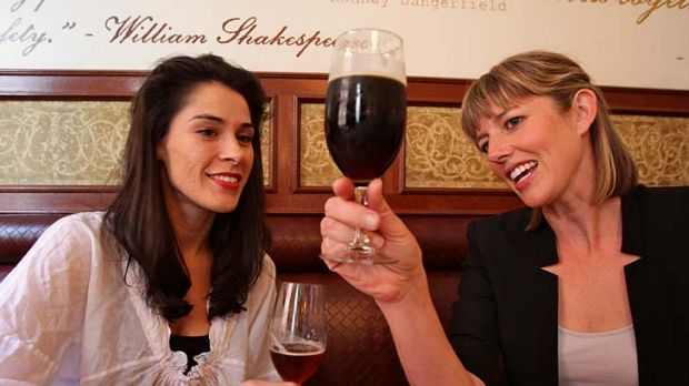 Ales in comparison ... the beer educator Kirrily Waldhorn, right, downs a cold one with the cheese expert Claudia Bowman ...