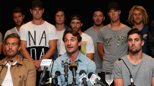 The next step: Jobe Watson and some members of the Essendon 34 last October.
