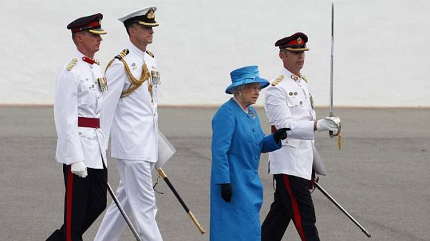 Queen Elizabeth attends the Presentation of Colours at the Royal Military College in Canberra.