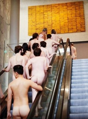 A naked tour group at the National Gallery of Australia heading into the James Turrell: A Retrospective tour on ...