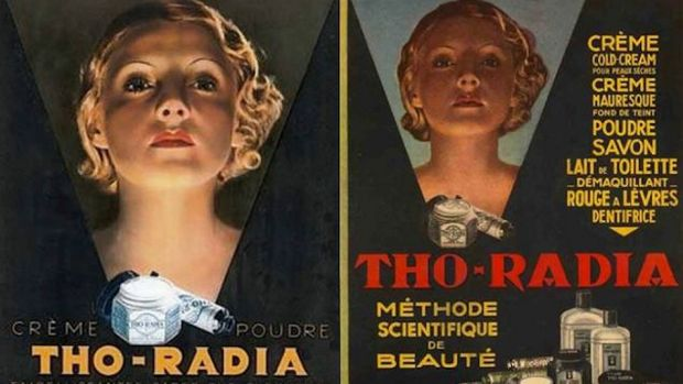 """Radioactive cream anyone? 1920s advertisments for """"Tho-Radia creme"""" to give you that 'glow'."""