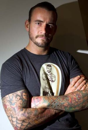 Tackle tactics … wrestler CM Punk shocked by league.