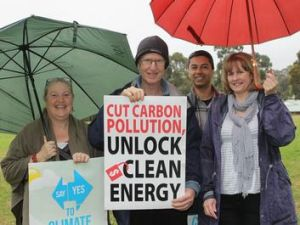 Climate change campaigners Katherine Barling, David Dickins, and Rohan and Alison Johns at Montmorency Primary School ...