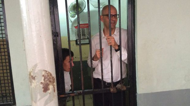 Neil Bantleman (right) and left Ferdinand Tjiong in jail last year.