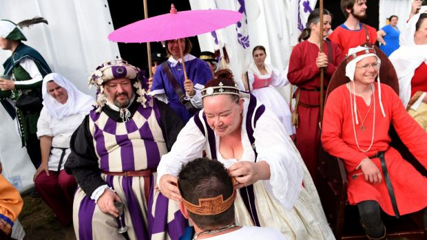 """History buffs at the Rowany Festival, Australia's largest gathering of pre-17th century """"recreationists"""", near Mittagong."""
