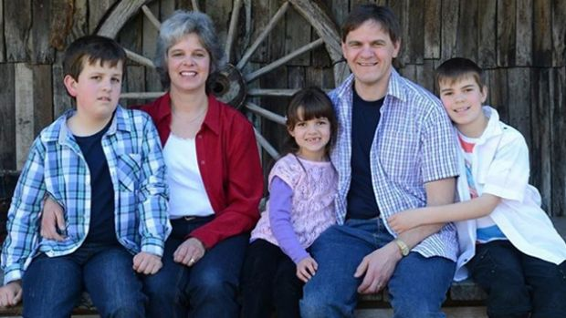 Luke Shambrook, far left, with his family.