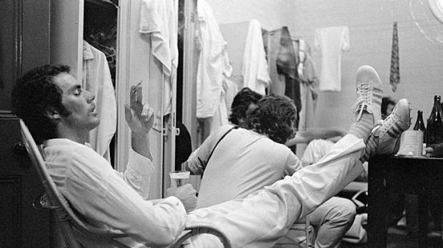 Greg Chappell relaxes after Australia won the 1974-75 series against England.
