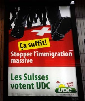 Message lost ... a People's Party anti-immigration poster.