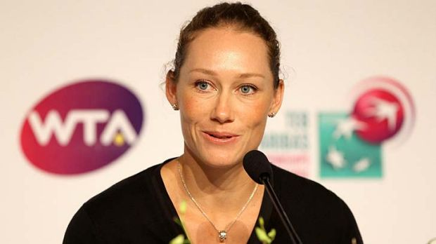 Sam Stosur at a media conference in Istanbul yesterday.