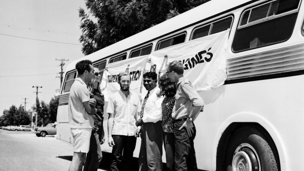 The Aboriginal Freedom Riders in Casino, New South Wales, on February 17, 1965. The Freedom Riders were a group of ...