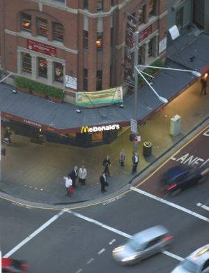 The McDonald's outlet on the corner of George and Bridge streets was a CBD fast food fixture for many years.