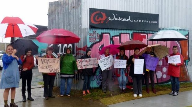 Protesters outside Wicked Campers in Brisbane back in 2014.