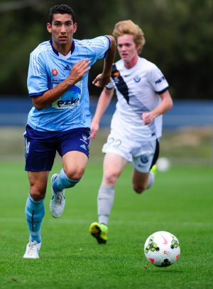 Canberra junior George Timotheou in action for the Syndey FC youth team.