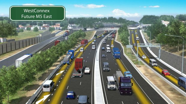 An artist's impression of planned upgrades to the WestConnex motorway: M5 East and King Georges Road interchange in ...