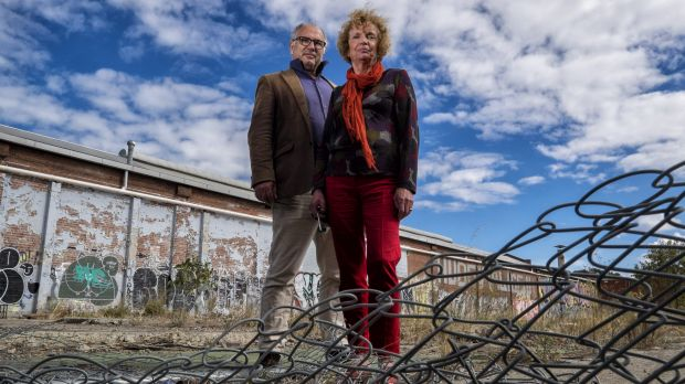 Helen Halliday and former Port Phillip councillor David Brand, from the Fishermans Bend Network group, outside ...