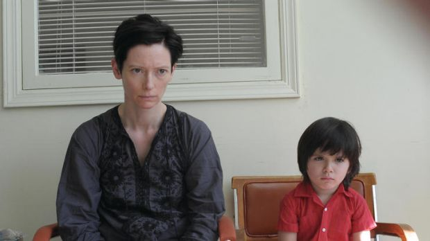 Nature or nurture ... Swinton stars as Eva, with Rocky Duer as her troubled son, in <i>We Need to Talk about Kevin</i>.
