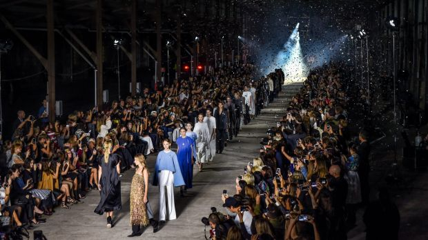 The show must go on: models make their final turn during Kym Ellery's Carriageworks show.
