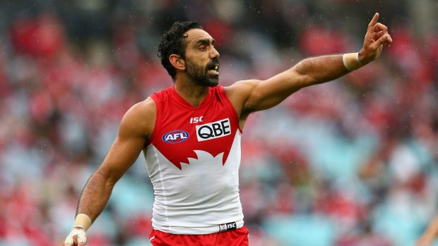 One year too many? Adam Goodes signals to teammates during the Swans' season opener.