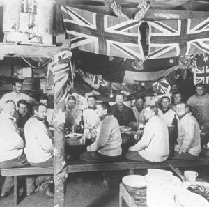 Cold comfort … the Australian Antarctic Expedition celebrates midwinter's day at Commonwealth Bay on June 21, 1912 ...