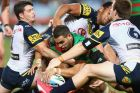SYDNEY, AUSTRALIA - APRIL 13:  Greg Inglis of the Rabbitohs attempts to score a try only to have it disallowed during ...