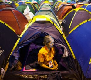 People make the best of life in tents.