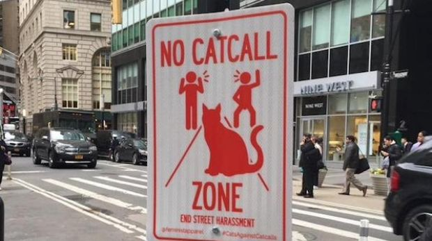 """A """"No Catcall Zone"""" sign installed in New York for End Street Harassment Week."""