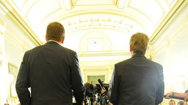 Facing the music ... Premier Ted Baillieu and his deputy Peter Ryan answer questions.