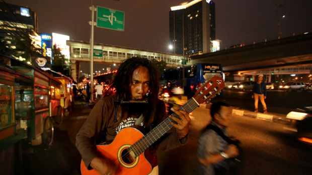 'Ho' Mulyono on the streets of Jakarta.  He has been detained three times and sent to social rehabilitation centres in ...