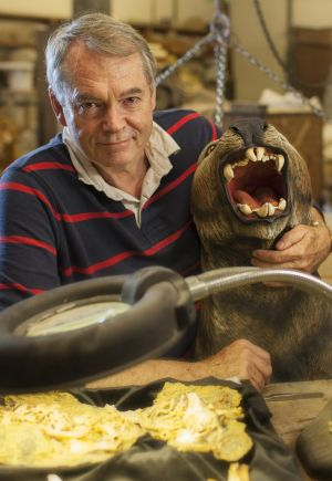 The Lazarus Project's Professor Michael Archer holding a life-sized model of an extinct Marsupial Lion. He has no plans ...