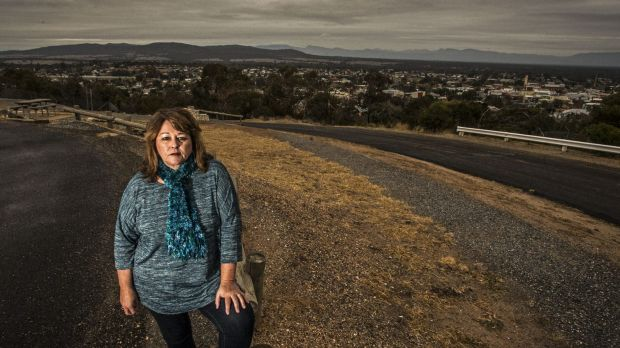 Sherrie Hunt stands at the lookout where it is proposed the mine will be built.