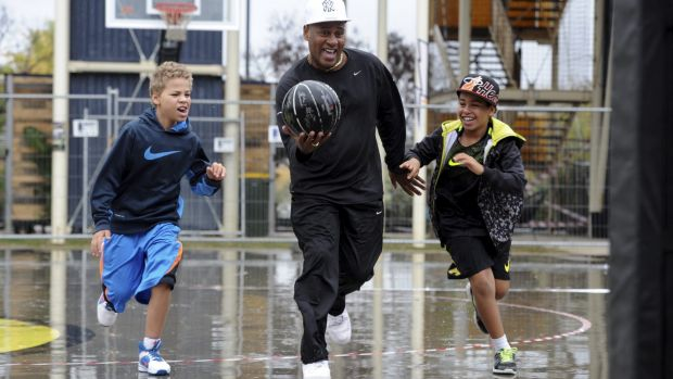 NBL Hall of Famer Cal Bruton, playing with sons, Dante, 8, and Brooklyn, 11, will host a tournament at Westside Acton Park.