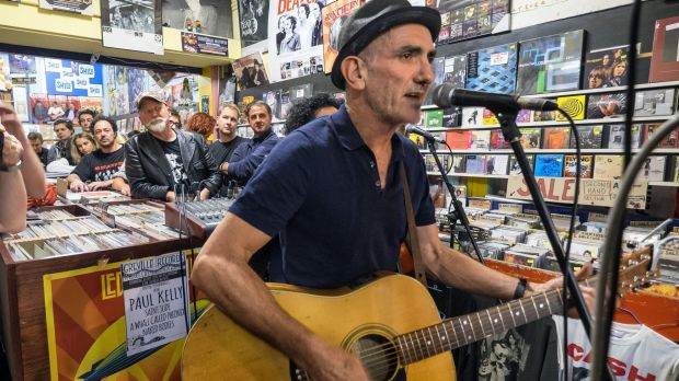 Paul Kelly performing with Vika and Linda at Greville Records as part of World Record Day celebrations in Melbourne.