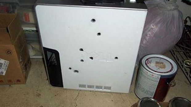 The computer after Lucas Hinch shot it eight times.