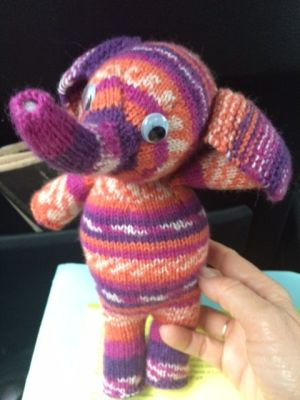 One of Margrethe Vestager's knitted toy elephants.