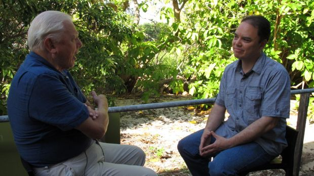 John Cook from UQ's Global Change Institute interviewing Sir David Attenborough for a segment in their 'Making Sense of ...