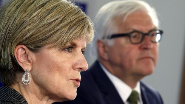 Germany's then-Foreign Minister Frank-Walter Steinmeier and Julie Bishop in 2015.