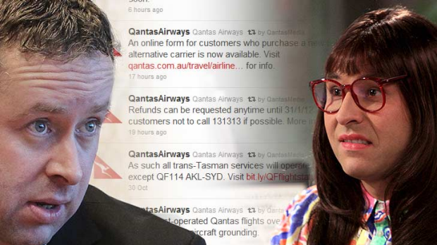 Public say no ... Qantas, led by Alan Joyce, copping flak for airline's wooden statements on social media, bringing to ...