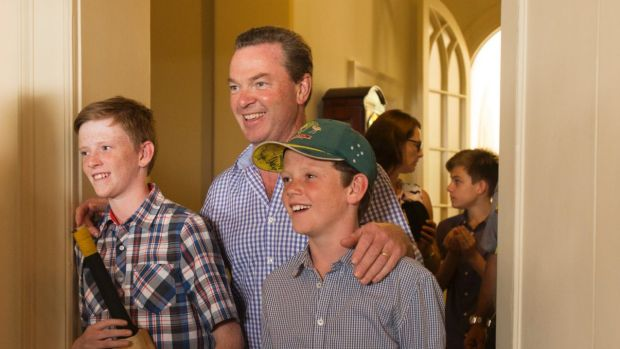 Mr Pyne with his sons in 2015.